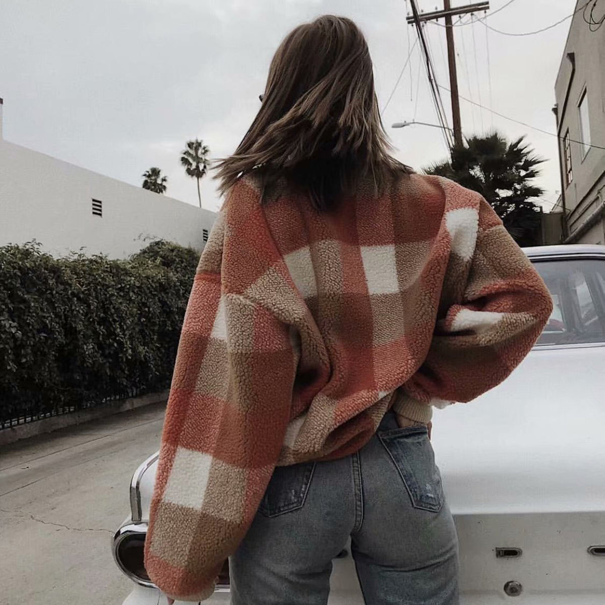 Vintage Check Oversized Midi-High Neck Fuzzy Sweater