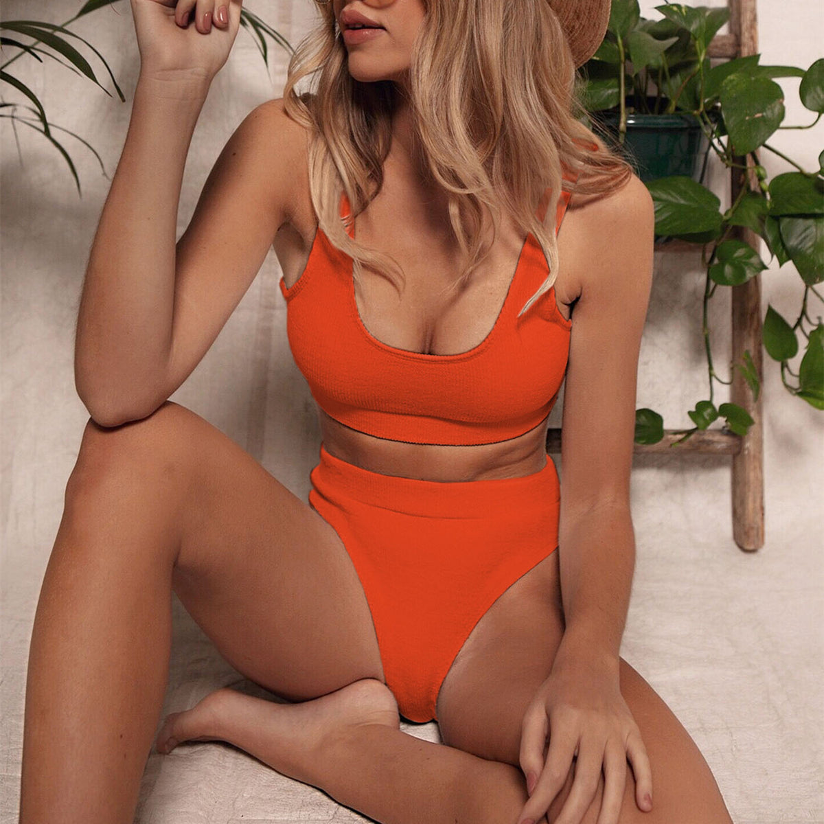 Ribbed Sporty Crop Top High Waisted Bikini Swimsuit - worthtryit.com