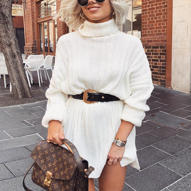 Rib Turtleneck Long Sleeve Knit Dress - worthtryit.com