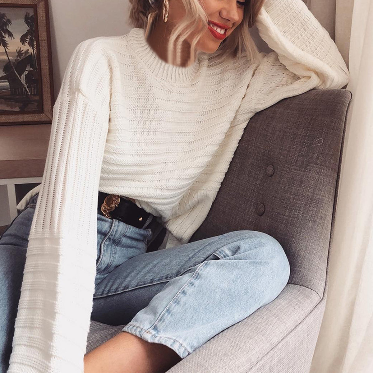 Textured Round Neck Knit Sweater - worthtryit.com