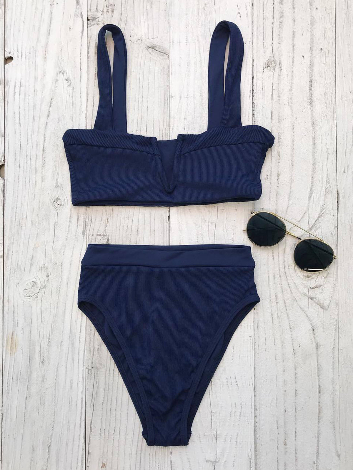 Ribbed Deep V Neck High Waisted Crop Top Bikini Set - worthtryit.com