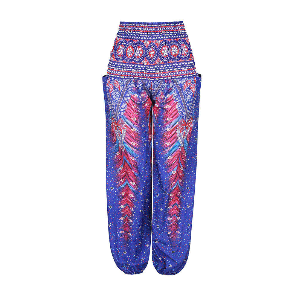 Bohemian Harem Pants Ethnic Wide Leg Bloomers-Purple - worthtryit.com