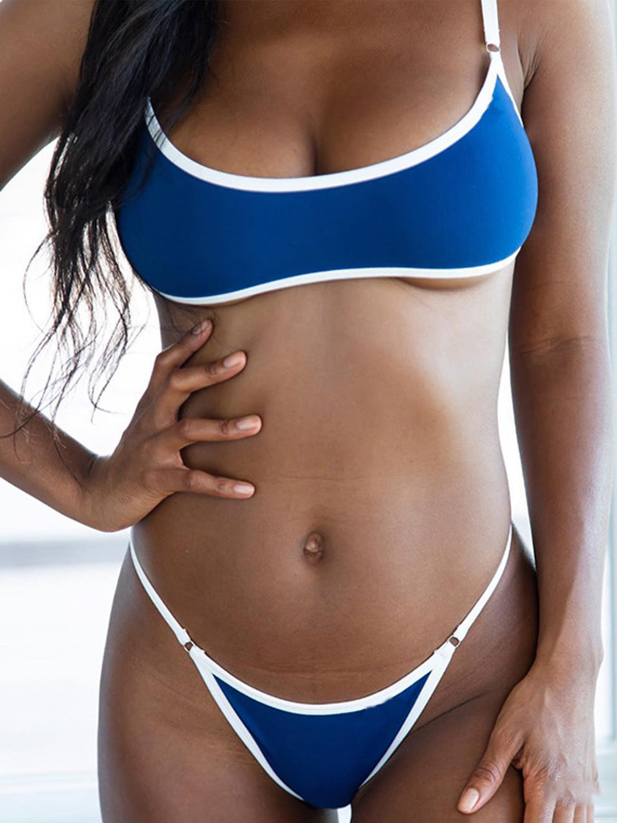 Solid Color Trimmed Crop Top Bikini Swimsuit