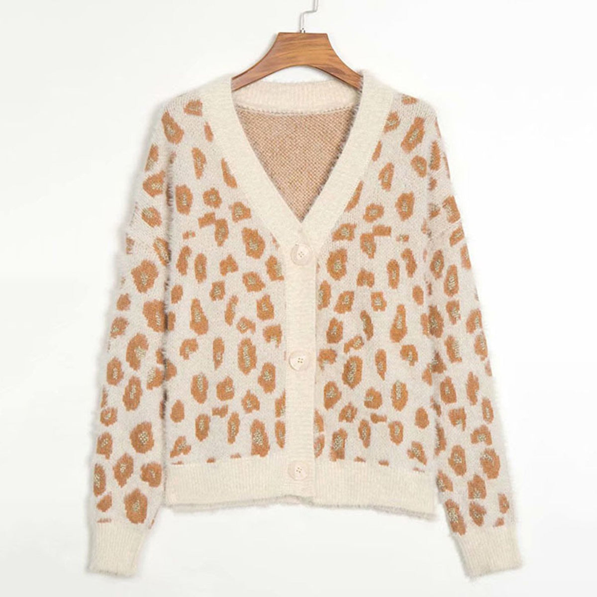 Leopard V Neck Knit Cardigan - worthtryit.com