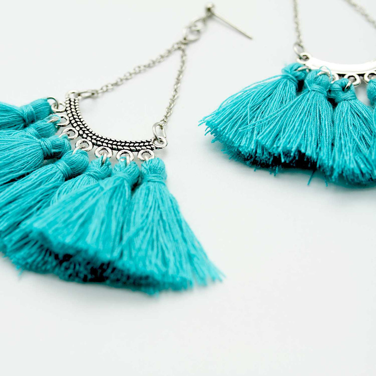 Special Gift - Boho Style Aqua Tassel Earrings - worthtryit.com