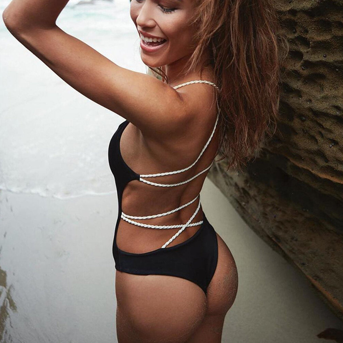 Lace Up Backless One Piece Swimsuit - worthtryit.com