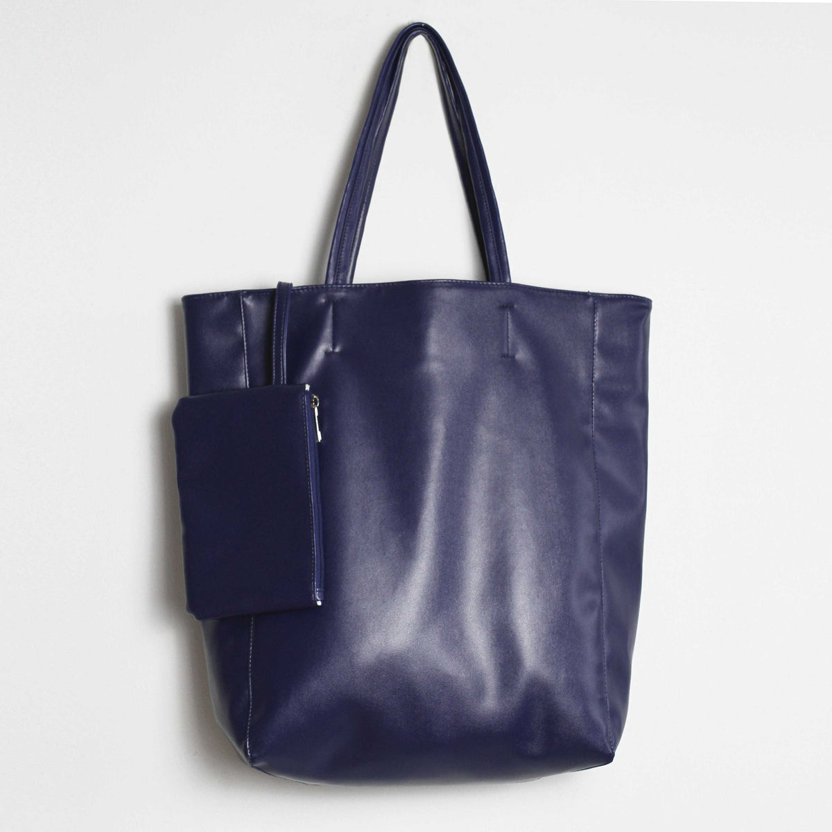 "Oversized Eco Vegan Leather Lambskin Tote Bag 16.7"" With Little Purse Inside - worthtryit.com"