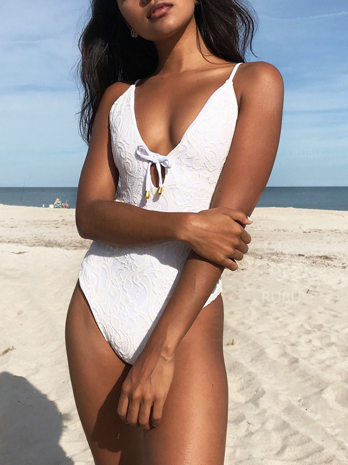 Tie Front Open Back Lace One Piece Swimsuit -White - worthtryit.com