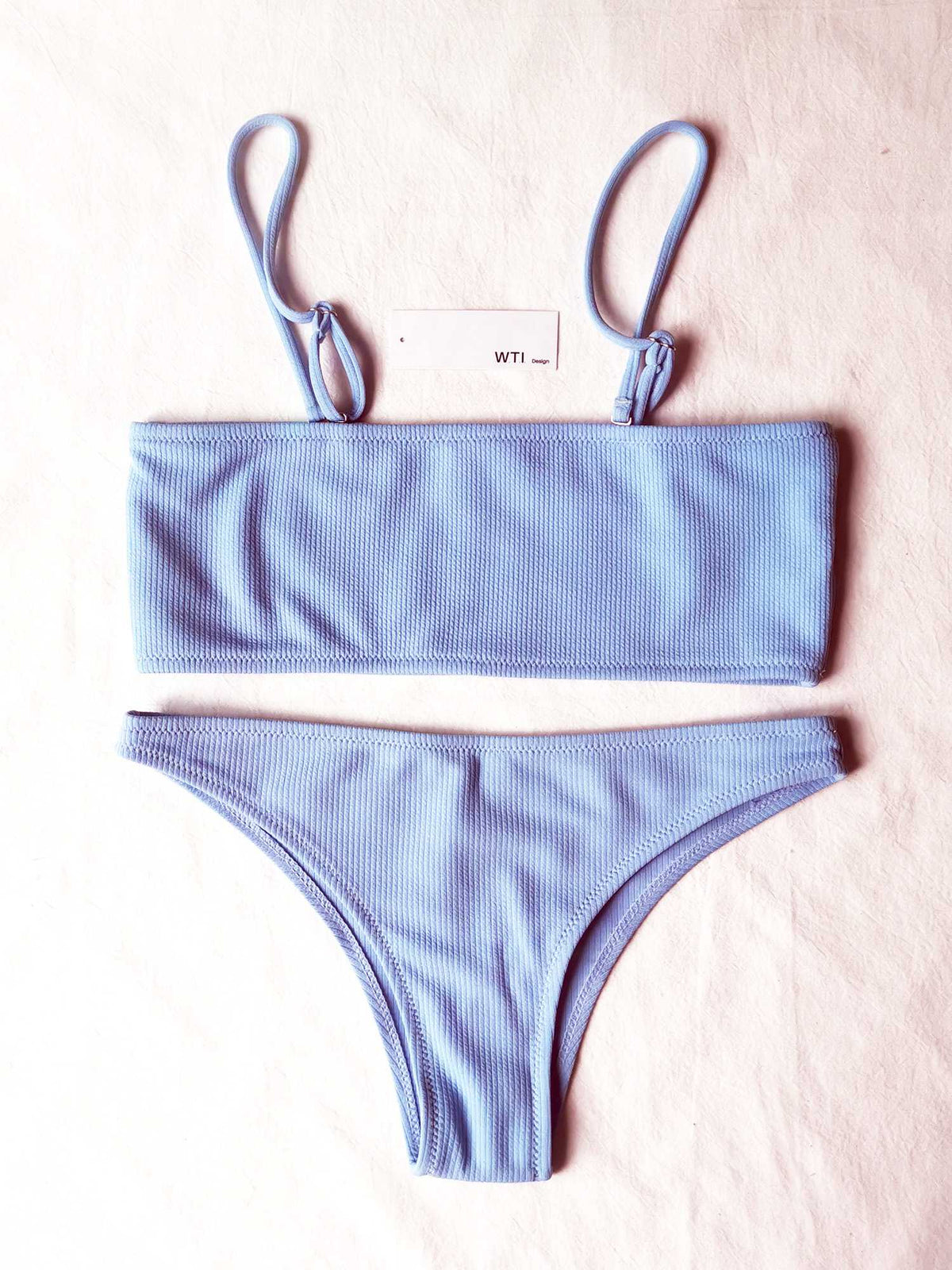 Solid Color Ribbed High Cut Bandeau Strapless Bikini Set