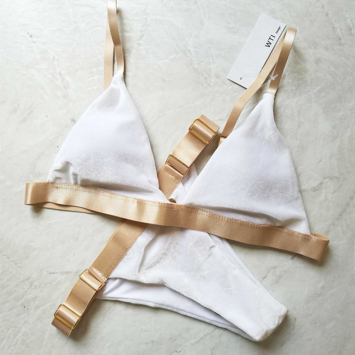 White Velvet Color Block  Bikini Suit With Metallic Closure - worthtryit.com