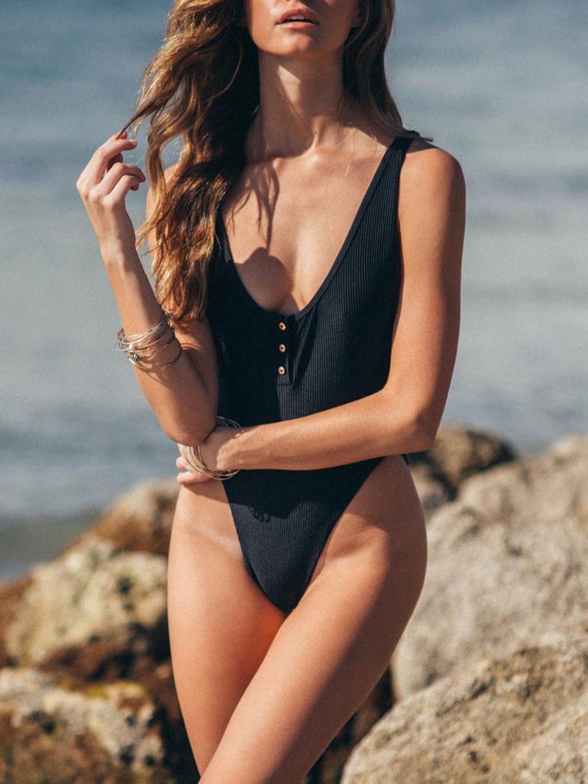 Ribbed Button Up High Rise Cut One Piece Swimsuit - worthtryit.com