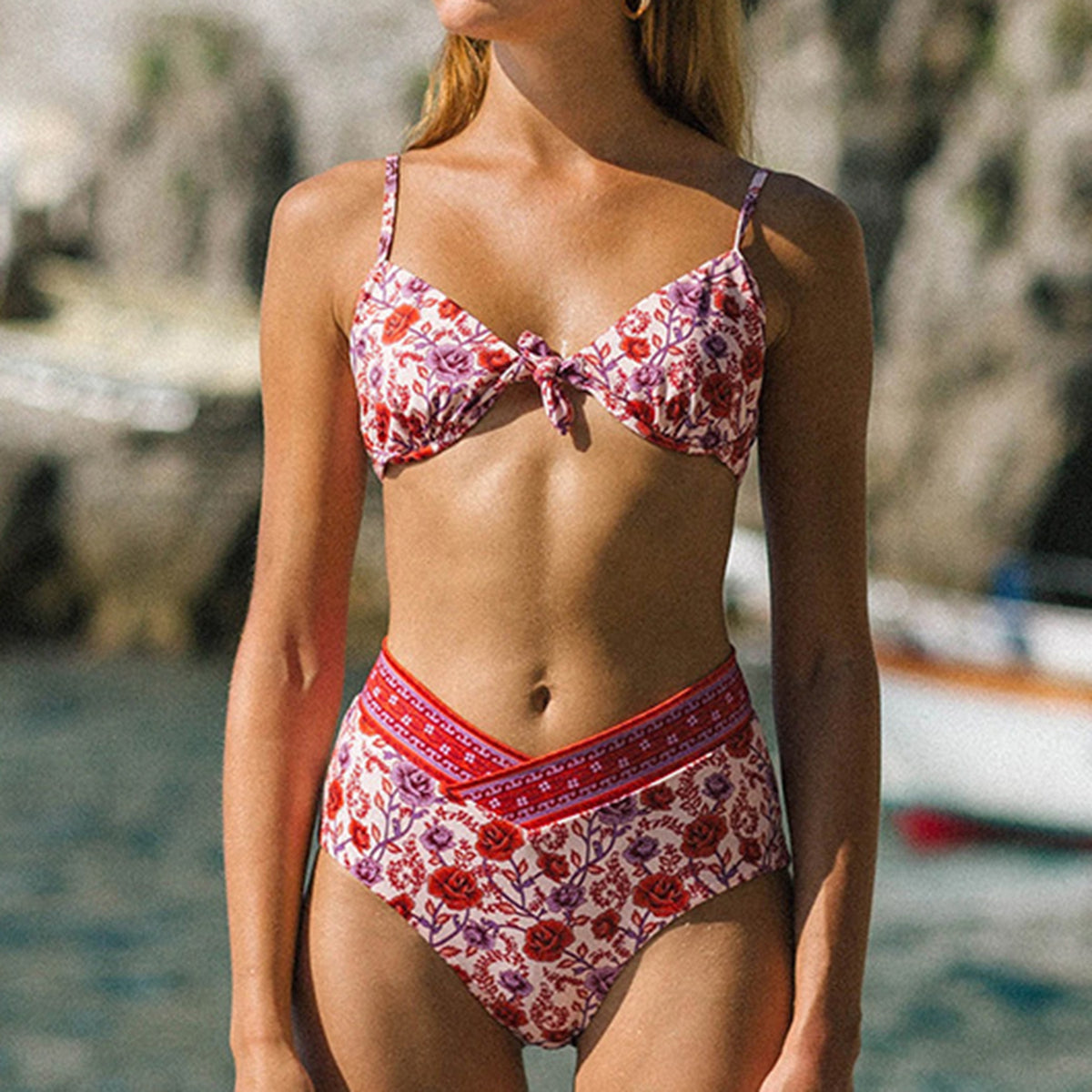 Floral Front Tie High Waist Bikini Swimsuit