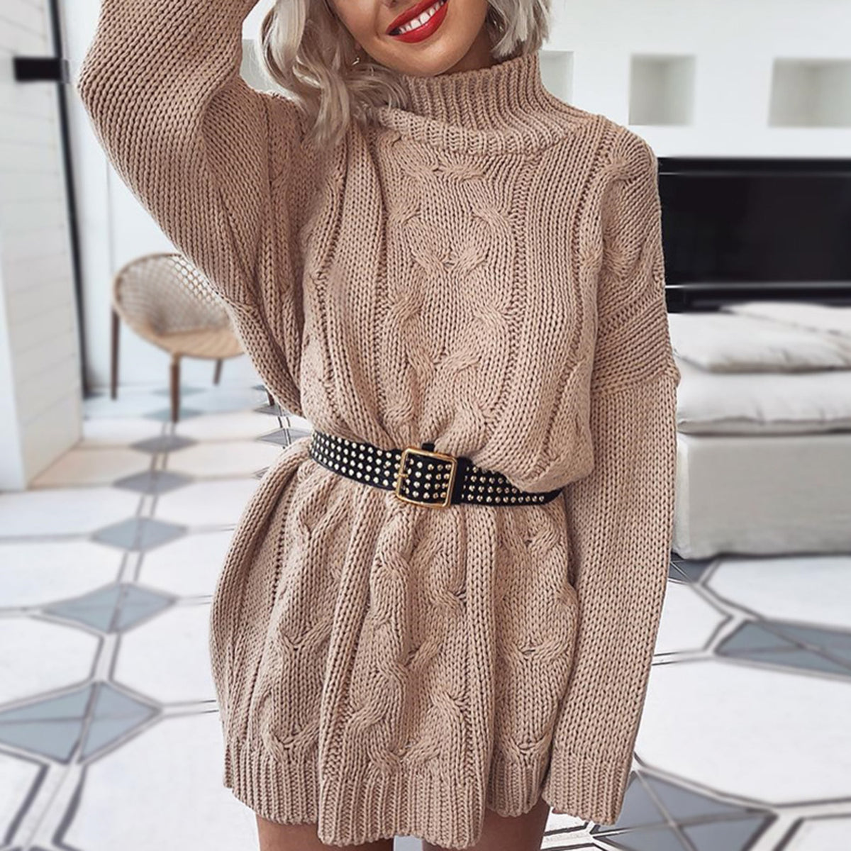 Oversized Cable High Neck Long Sleeve Knit Dress