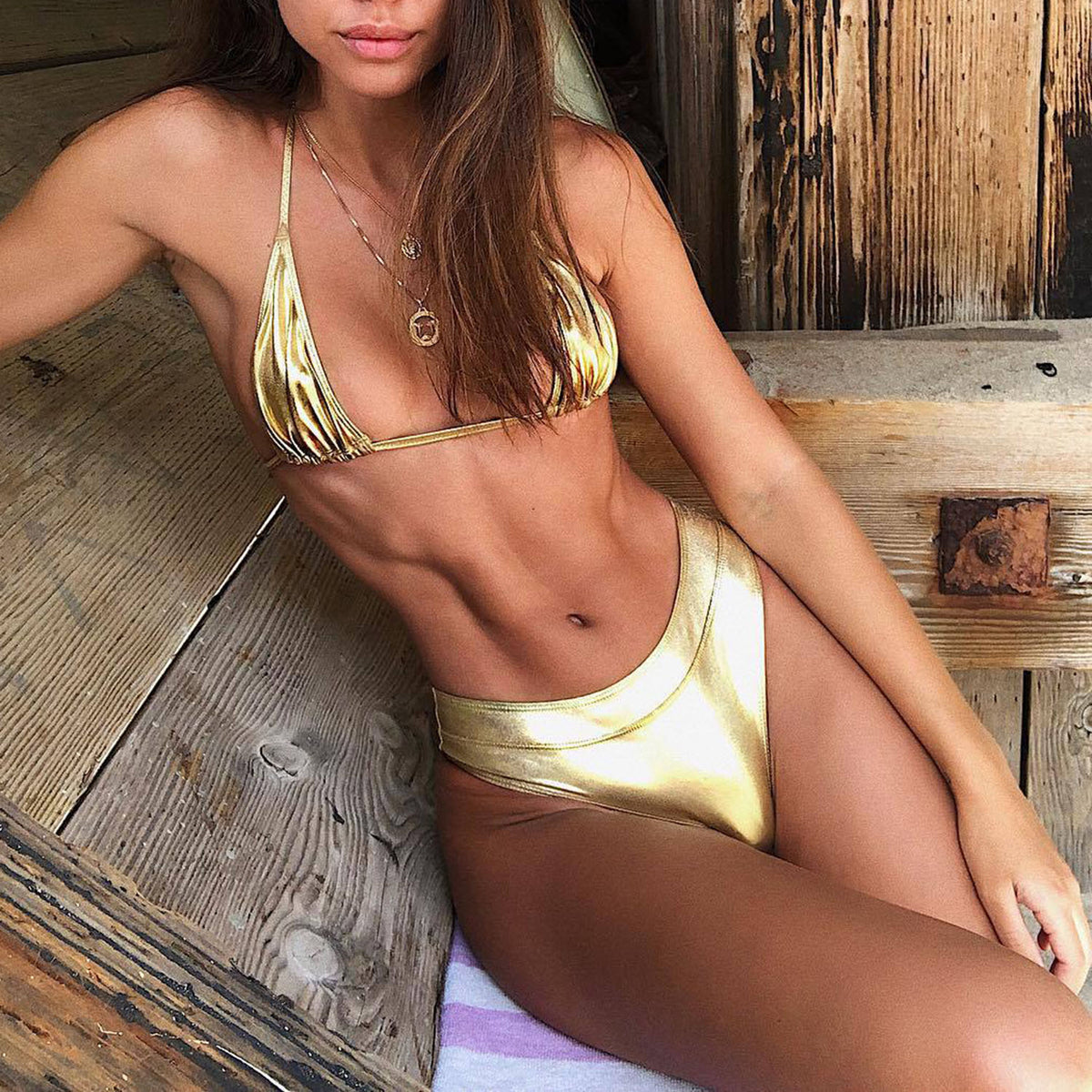 Metallic High Waisted High Cut Swimsuit - worthtryit.com