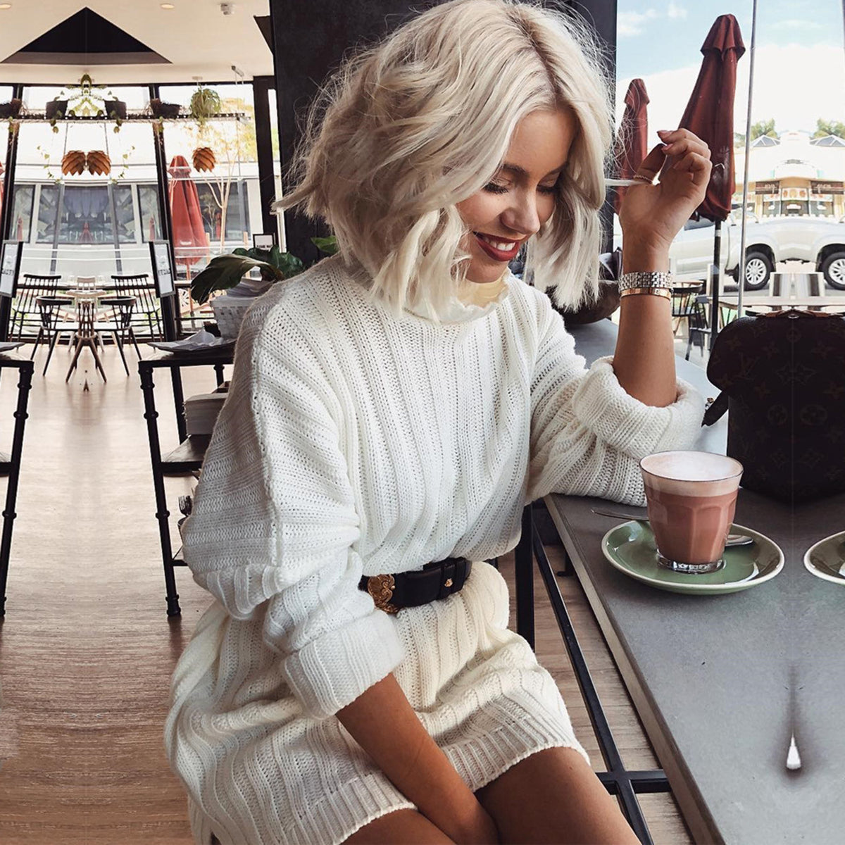 Rib Turtleneck Long Sleeve Knit Dress
