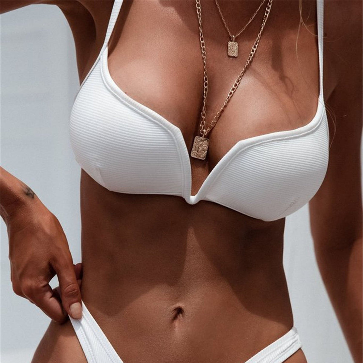 Ribbed Deep V Crop Top High Rise Bikini - worthtryit.com