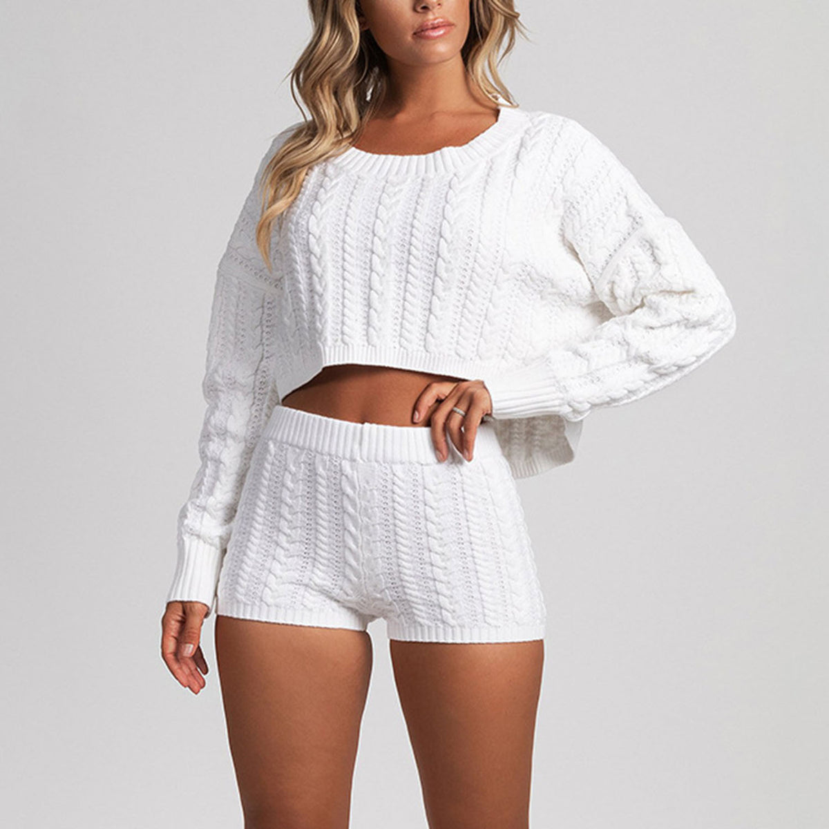 Loose Cable Knit Short Sweater Two Piece Suit