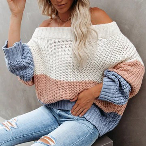 Color Block Strips Off The Shoulder Knit Sweater