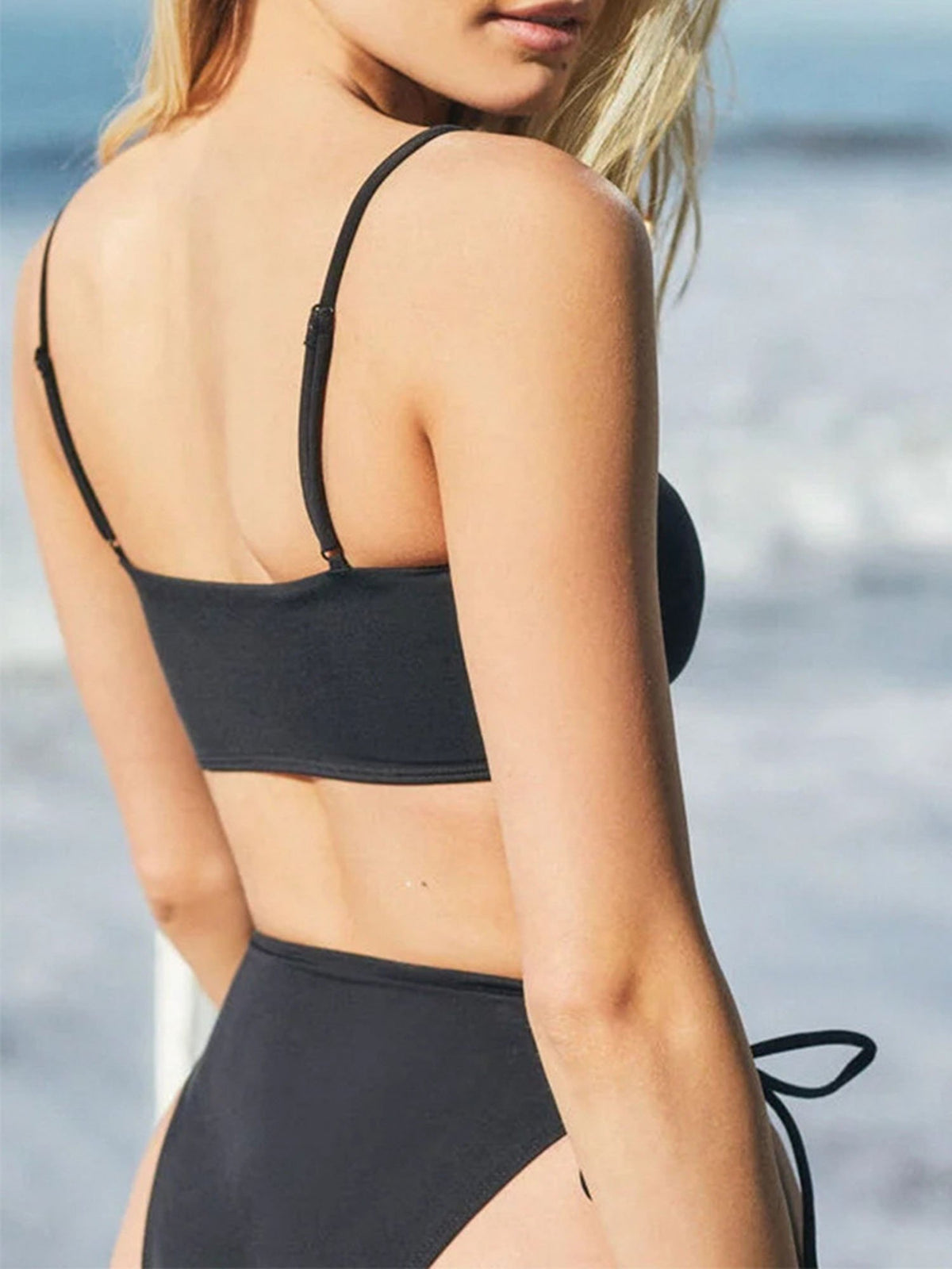 Lace Up Front  Side Tie High Waist Crop Bikini Swimsuit - worthtryit.com
