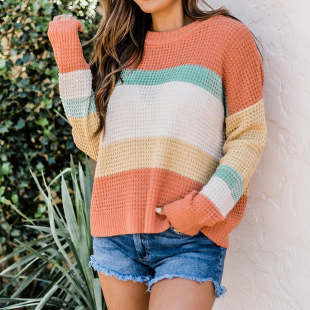 Loose Color Blocked Knit Sweater