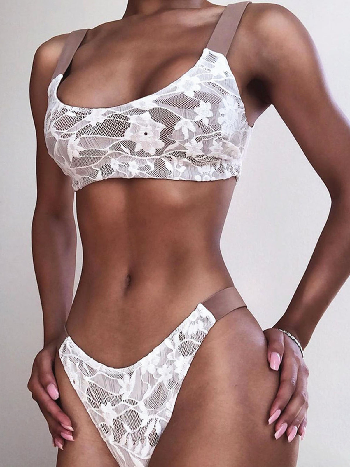 Lace Crop Top High Rise Bikini Swimsuit - worthtryit.com
