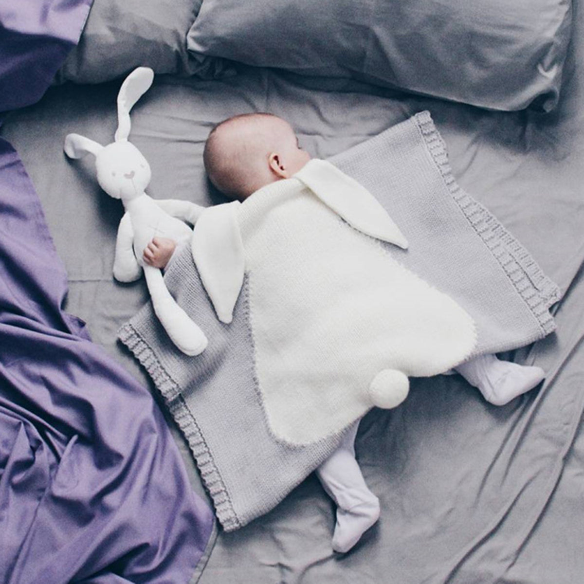 "Cute Knitted Bunny Ear Kid Blanket 42"" (L) - worthtryit.com"
