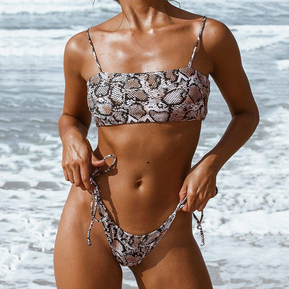 Animal Print Strappy Bandeaux Bikini Swimsuit YS20 - worthtryit.com