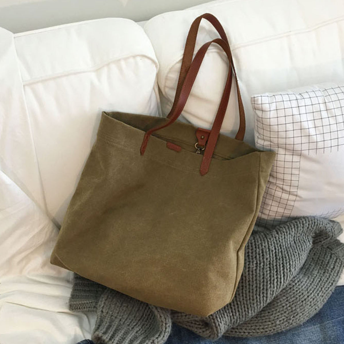 Canvas Bag with Leather Handles Transport Oversized Tote Bags - worthtryit.com
