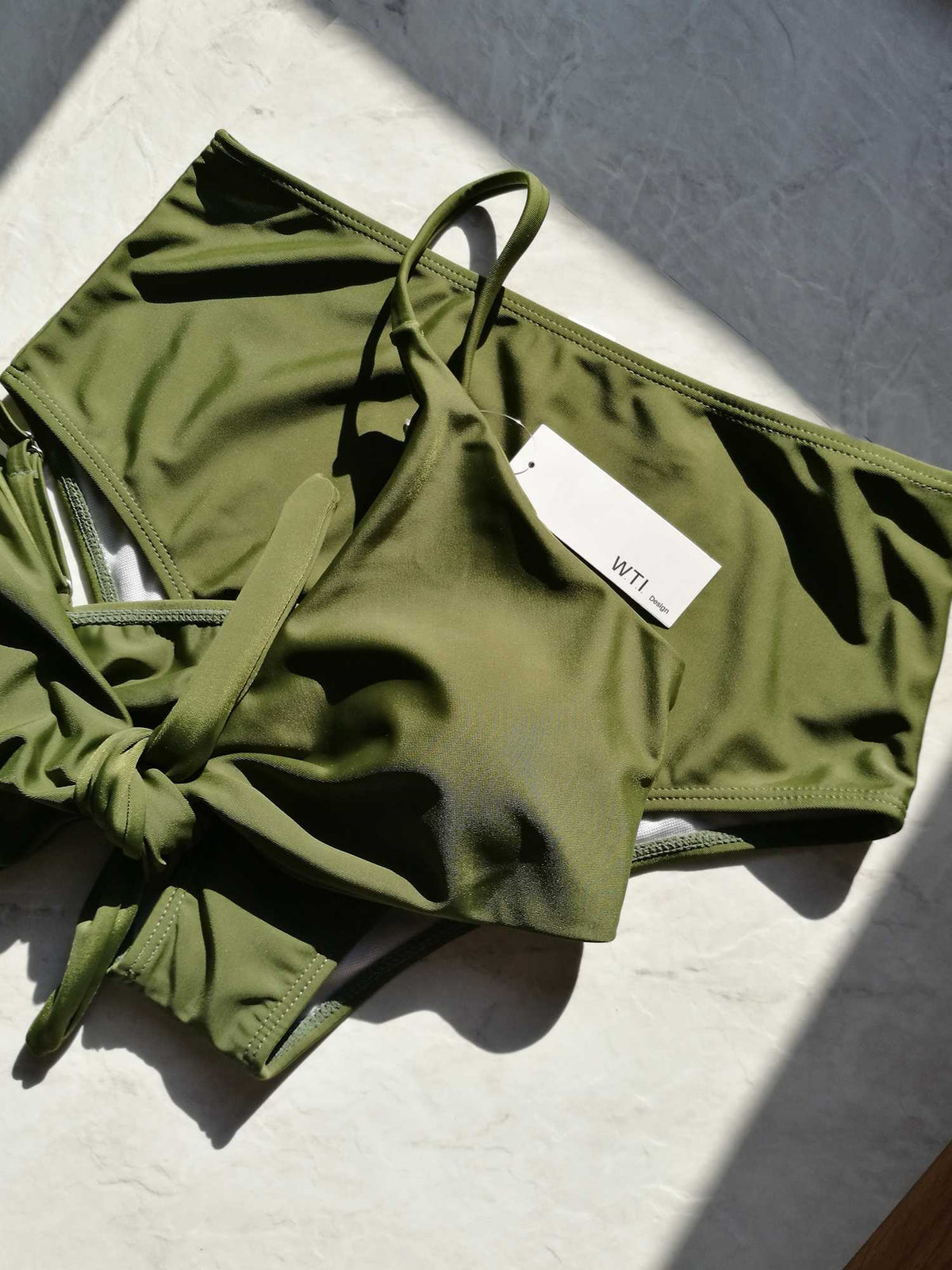 Front Tie Bow High Waist High Cut Bikini Set - worthtryit.com