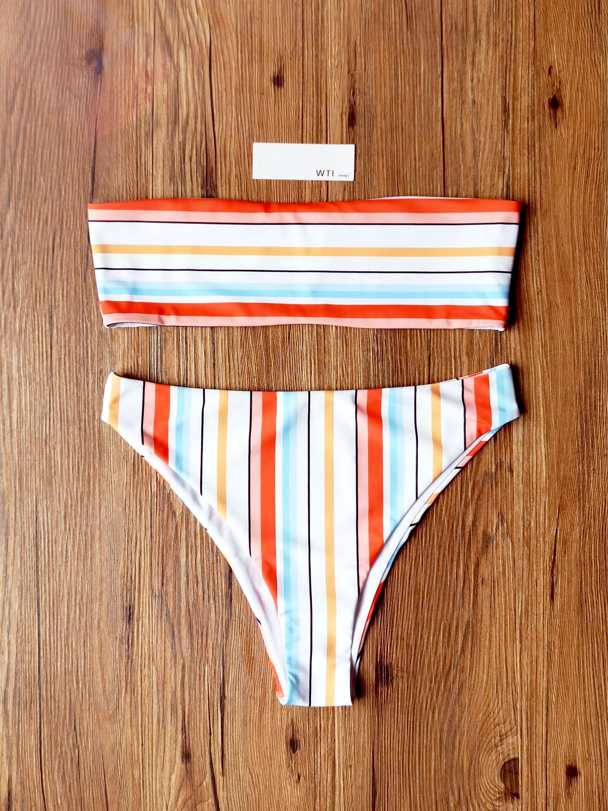 Rainbow Stripes High Waist Bandeaux Bikini Swimsuit