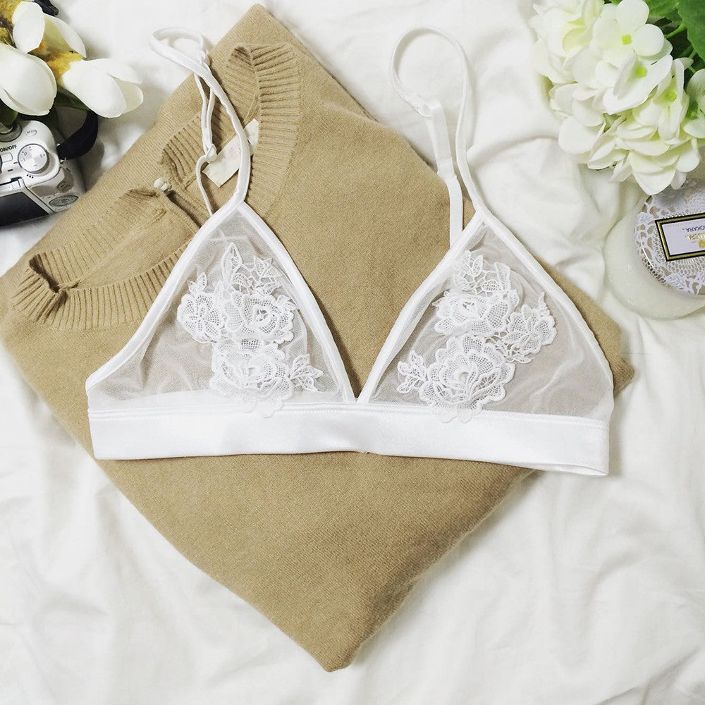 Sexy Floral Embroidered  Bralette Set - White - worthtryit.com
