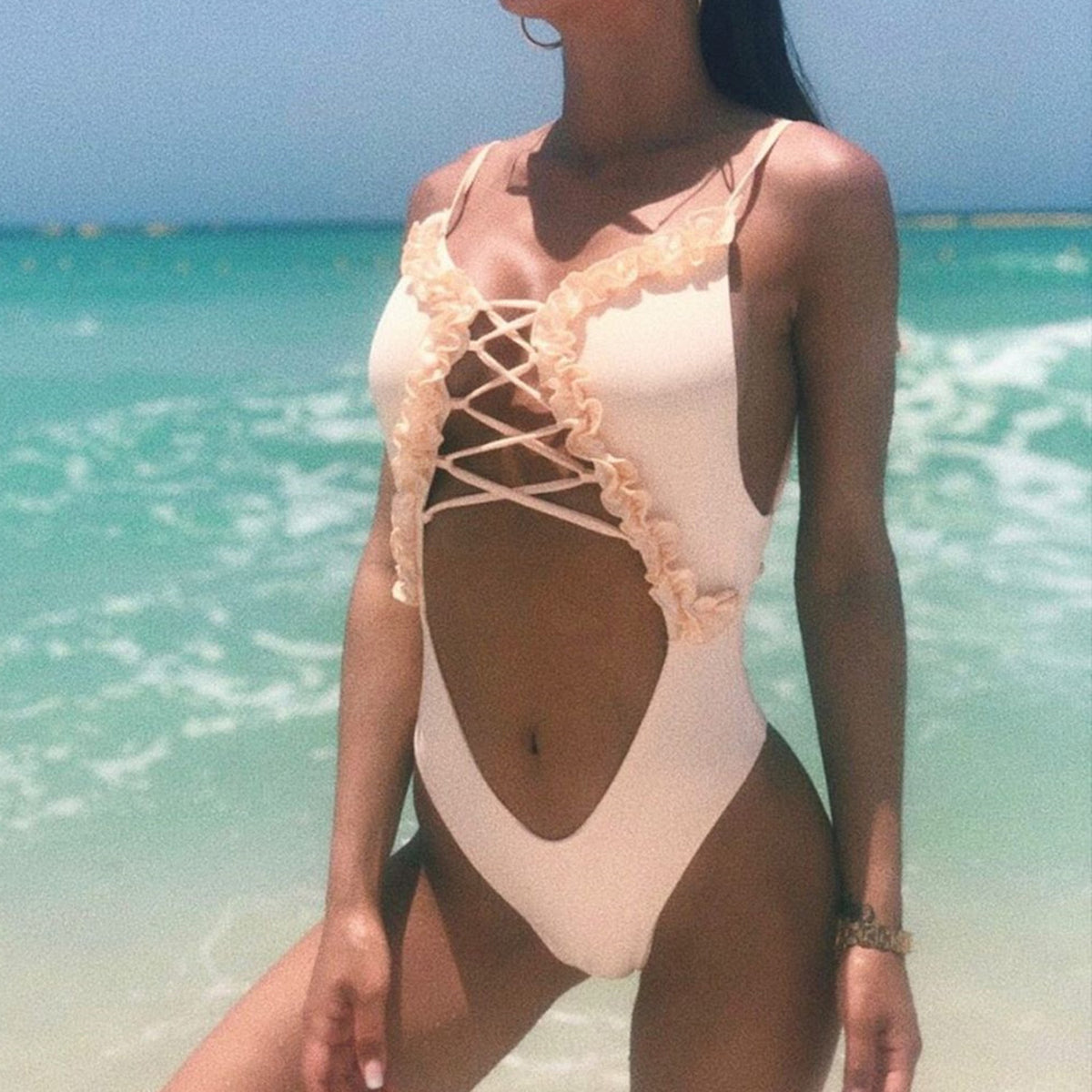 Ruffle Lace Up Front One Piece Swimsuit - worthtryit.com
