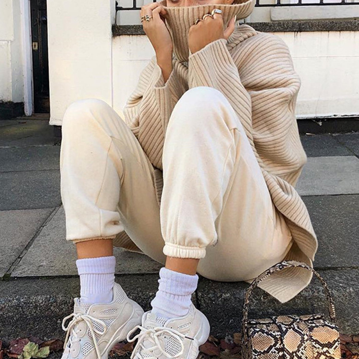 Oversized High Neck Knit Sweater- Beige - worthtryit.com