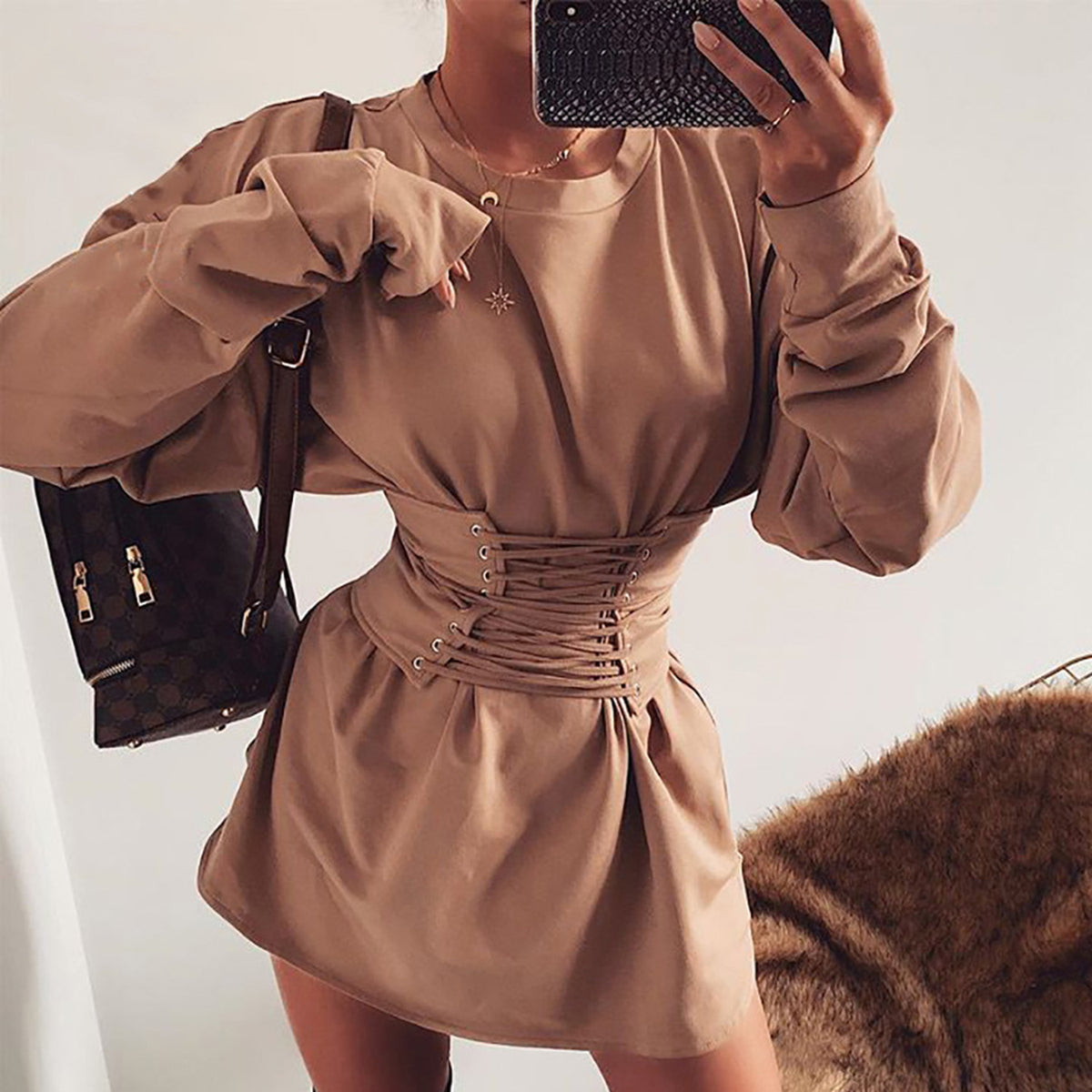 Round Neck Lace Up Waist Long Sleeve Knit Sweater Dress - worthtryit.com