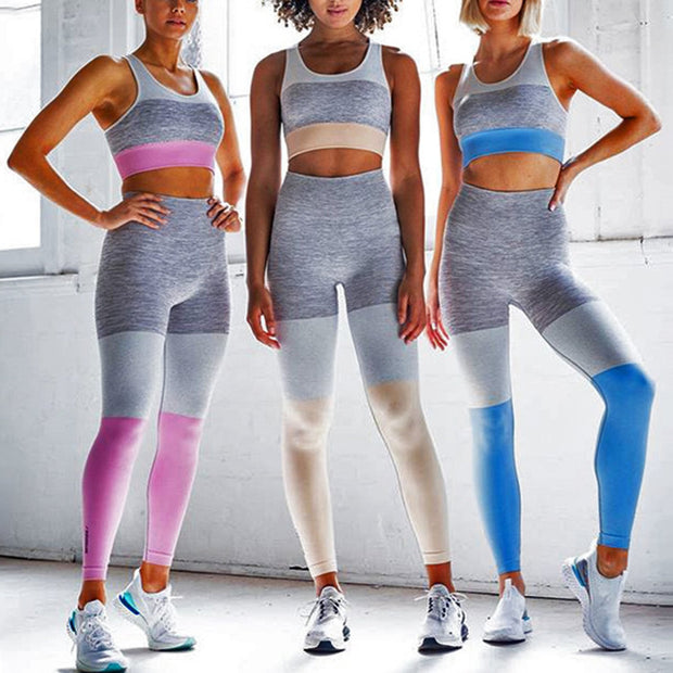 Color Block Crop Top 2 Piece Yoga Sports Fitness Suit - worthtryit.com