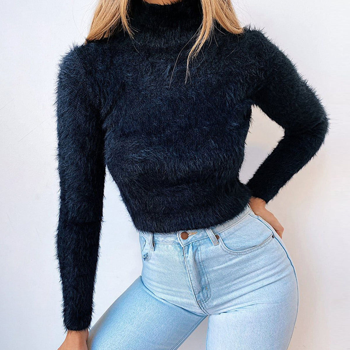 Turtle Neck Fuzzy Crop Knit Sweater