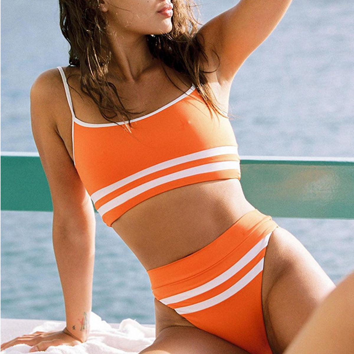 Sporty Color Block High Waisted Crop Top Bikini Swimsuit HT20 - worthtryit.com