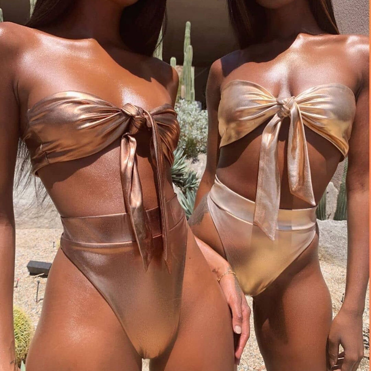 Metallic Front Tie High Waist Bikini Swimsuit - worthtryit.com