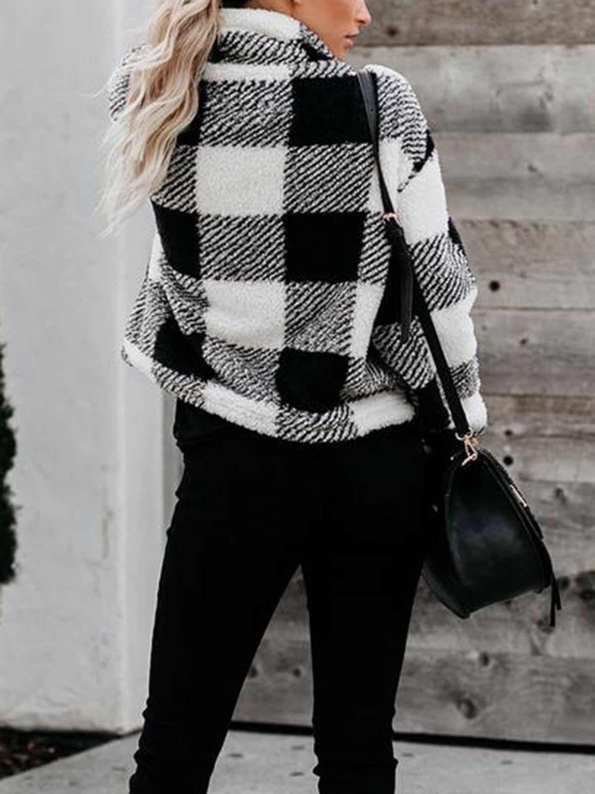 Checked Zip Stand-Up Fleece Sweater