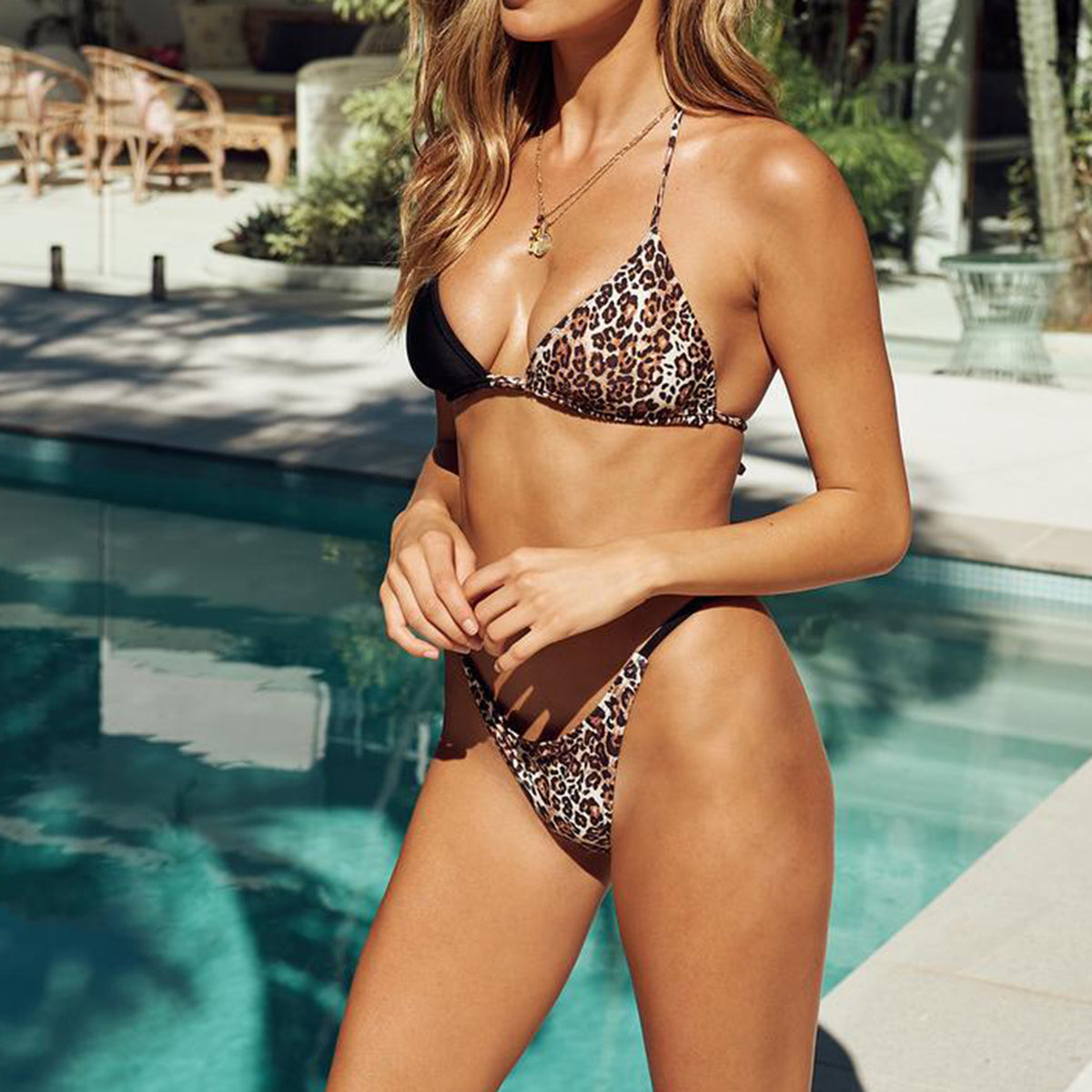 Mix Blocked Triangle High Rise Bikini Swimwear - worthtryit.com