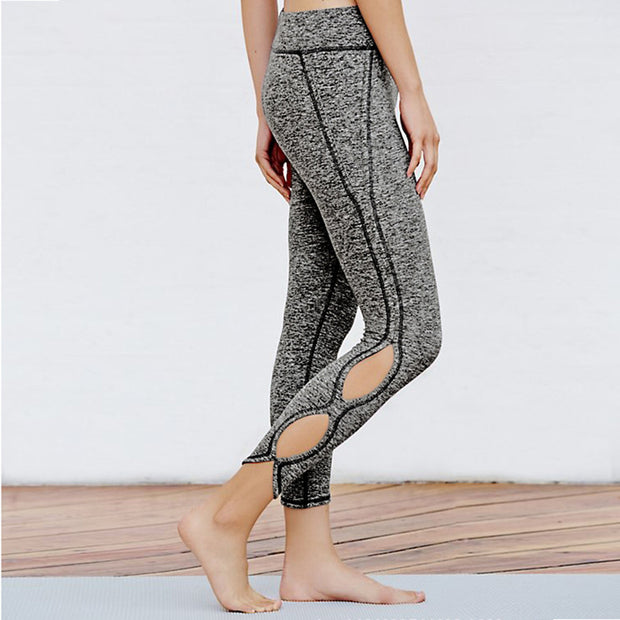 Hollow Out Yoga Pants High Waist Sports Legging-Grey - worthtryit.com