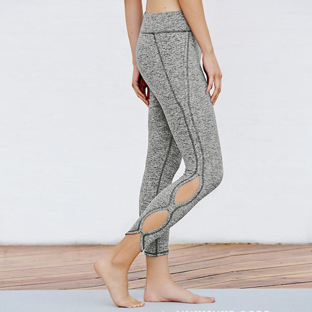 Hollow Out Yoga Pants High Waist Sports Legging-Light Grey - worthtryit.com
