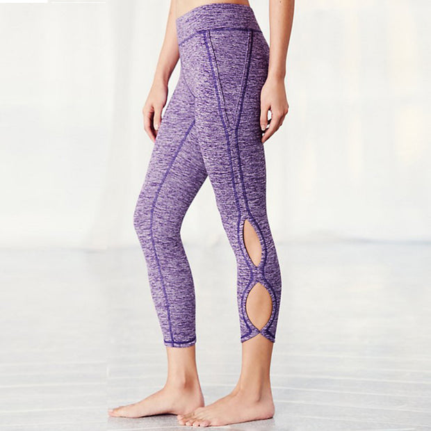 Hollow Out Yoga Pants High Waist Sports Legging-Purple - worthtryit.com