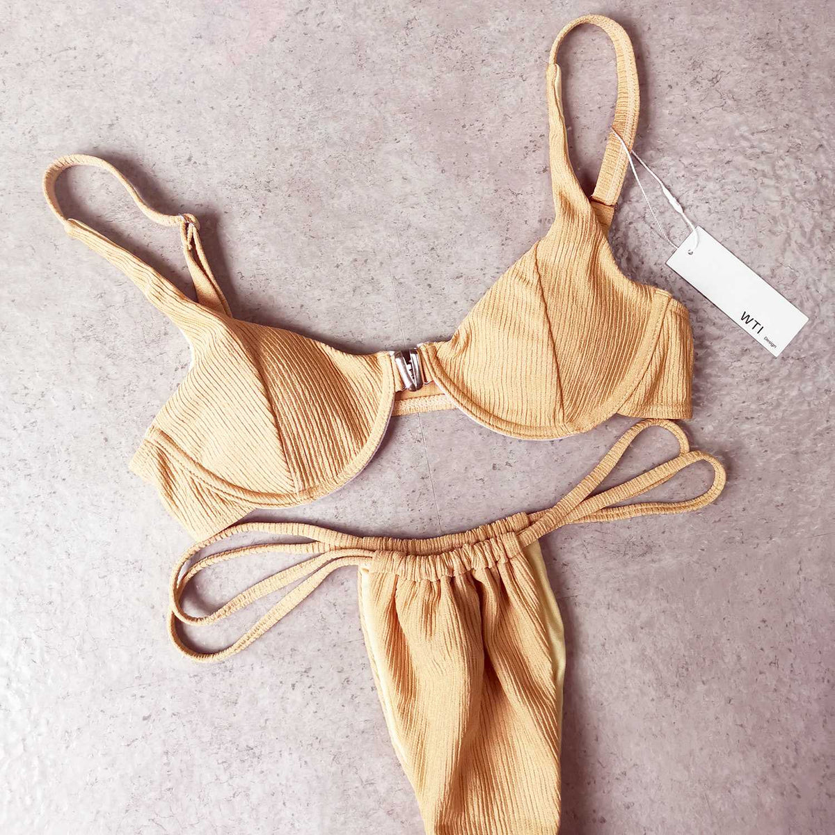 Ribbed Crop Top & Underwire Bikini Swimsuit - worthtryit.com