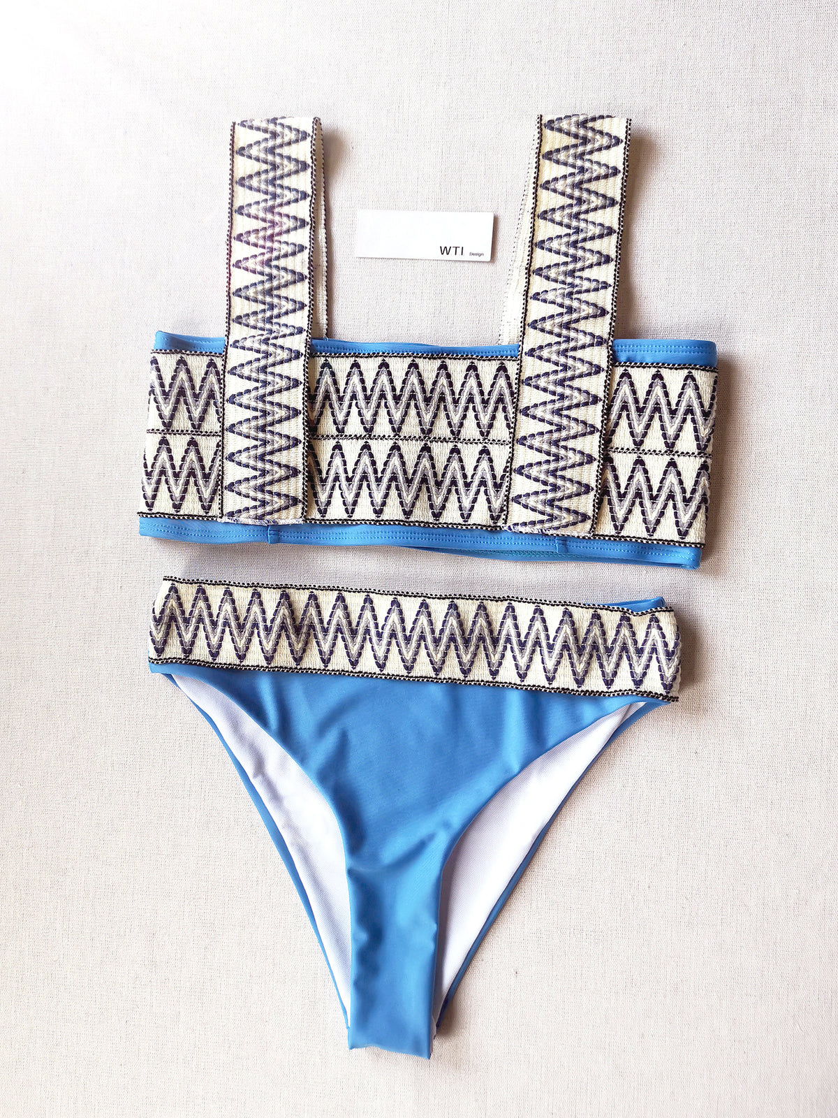Woven Zig Zag High Waist Crop Bikini Swimsuit