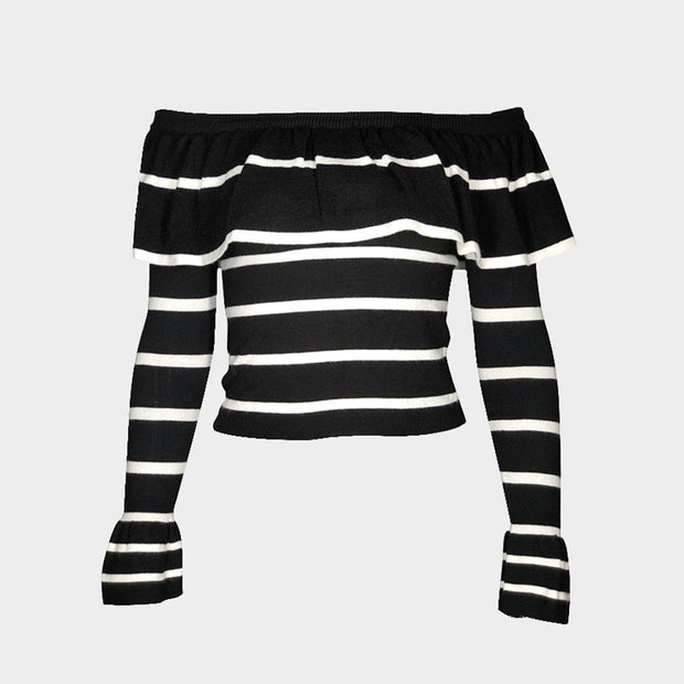 Stripe Ruffle Off Shoulder Long Sleeve Knit Sweater - worthtryit.com