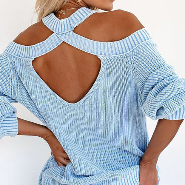 Mock Neck Cold Shoulder Knit Sweater