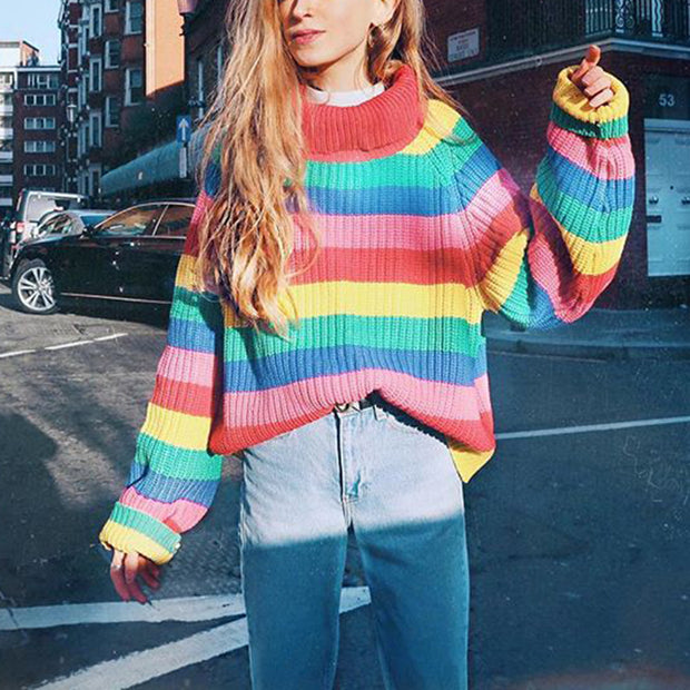 Oversize Rainbow Puff Shoulder Pullover Sweater - worthtryit.com