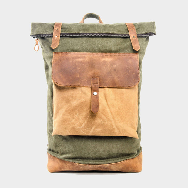 "Color Blocked Canvas Backpack 15"" - worthtryit.com"