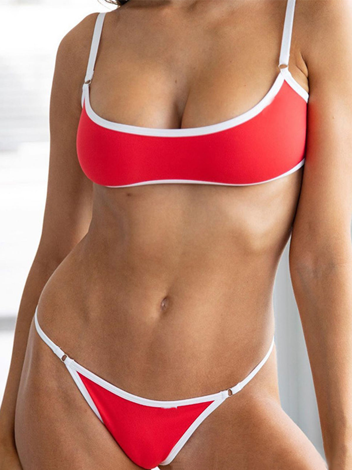 Solid Color Trimmed Crop Top Bikini Swimsuit - worthtryit.com
